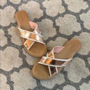 Toms Rose Gold Viv Cross Slides Sandals
